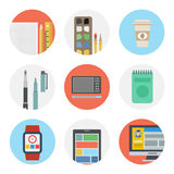 Nine color flat icon set - Designer tools stock illustration
