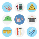 Nine color flat icon set - electrical tools Royalty Free Stock Photos