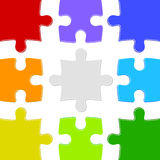 Nine color puzzles Royalty Free Stock Image