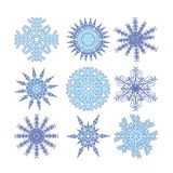 Nine color snowflakes Royalty Free Stock Photos