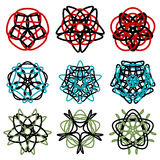 Nine colored abstract round mandalas Stock Photography