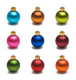 Nine Colored Christmas Balls Royalty Free Stock Photography