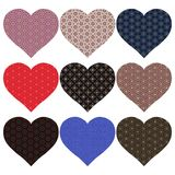 Nine colored hearts in patterns.  royalty free illustration