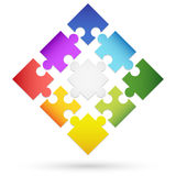 Nine colored puzzle parts Stock Images
