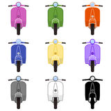 Nine colored scooters in front view Royalty Free Stock Photos