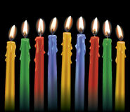 Nine Colorful Candles Royalty Free Stock Photography