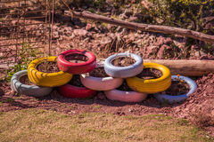 Nine Colorful Car Tyre. Used as flower pots in the garden Royalty Free Stock Photos