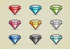 Nine colorful diamonds. Set of nine shiny colorful diamonds Royalty Free Stock Photography