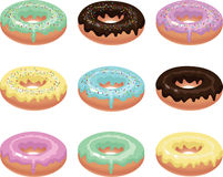 Nine colorful donuts. Stock Photos