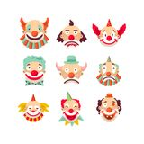 Nine colorful emotional clown portraits isolated on white Royalty Free Stock Images