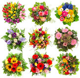 Nine colorful flowers bouquet for Easter Holidays. Floral object Royalty Free Stock Photo