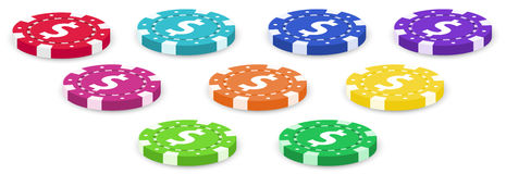 Nine colorful poker chips Stock Photos