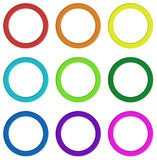 Nine colorful rings Stock Image