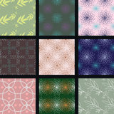 Nine colorful seamless textures Royalty Free Stock Images