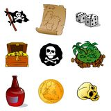 Nine corsair subject. Nine vector pirates subject on the white background Stock Photo