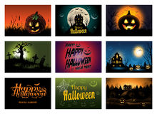 Nine creepy Halloween greeting card party invitation Stock Images