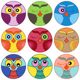 Nine cute owl faces in circle shapes Stock Photos