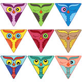 Nine cute owl faces in triangle shapes. Set of nine cute colorful owl faces placed in triangle shapes and isolated on a white background, cartoon vector Royalty Free Stock Photography