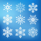 Nine cute snowflakes Stock Photography