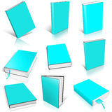 Nine cyan empty book template Royalty Free Stock Photo