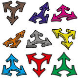 Nine 3d arrows. The nine 3d arrows on white background Royalty Free Stock Photo