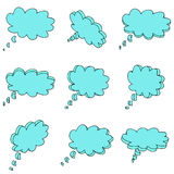 Nine 3d blue clouds. On a white background Stock Photo