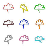 Nine 3d colored clouds Royalty Free Stock Photos