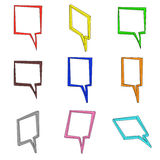 Nine 3d colored square clouds Stock Images