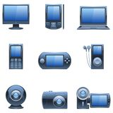 Nine dark blue computer and media icons. royalty free illustration