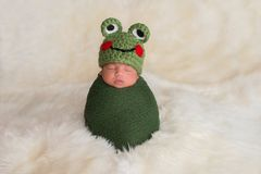Newborn Baby Boy Wearing a Frog Hat Stock Photo