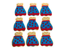 Nine decorated apron cookies Royalty Free Stock Photos