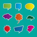 Nine dialog boxes on blue background. Set of nine colorful dialog boxes on blue background - 3d paper art style Stock Photography