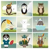 Nine different animals dressed like humans royalty free illustration