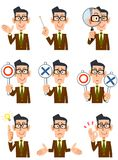 Nine different expressions and gestures of a man royalty free illustration