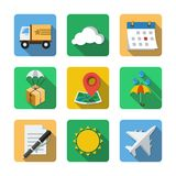 Nine different icons in a flat style Stock Photo