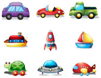 Nine different kind of toy transportations Stock Photography