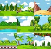 Nine different outdoor nature scenes. Illustration stock illustration