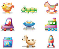 Nine different toys for children Stock Photo