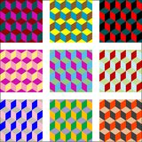 Nine different versions of psychedelic patterns. Abstract textures; vector art illustration; easy to change colors Royalty Free Stock Photography