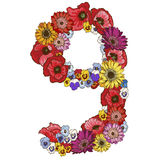 Nine digit made of different flowers. Floral element of colorful alphabet made from flowers. Vector illustration. Nine digit made of different flowers. Floral Stock Photo