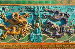 Nine-Dragon Screen in Beihai Park Stock Images