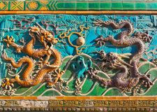 Nine-Dragon Screen in Beihai Park Royalty Free Stock Image