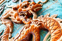 The Nine-Dragon Wall. (Jiulongbi) at Beihai park, Beijing, China. The wall was built in 1756 CE stock photo