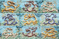 The Nine-Dragon Wall collage Stock Photography