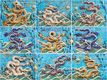 Nine-Dragon-Wall collage Royalty Free Stock Photo