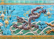 Nine-Dragon-Wall detail Royalty Free Stock Images