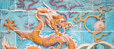 Nine-Dragon Wall (Jiulongbi) at Beihai park, Beijing, China Royalty Free Stock Photo