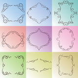 Nine drawn frames on a colored background. Royalty Free Stock Image