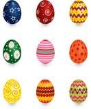 Nine Easter eggs stock image