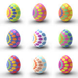 Nine Easter eggs Stock Images